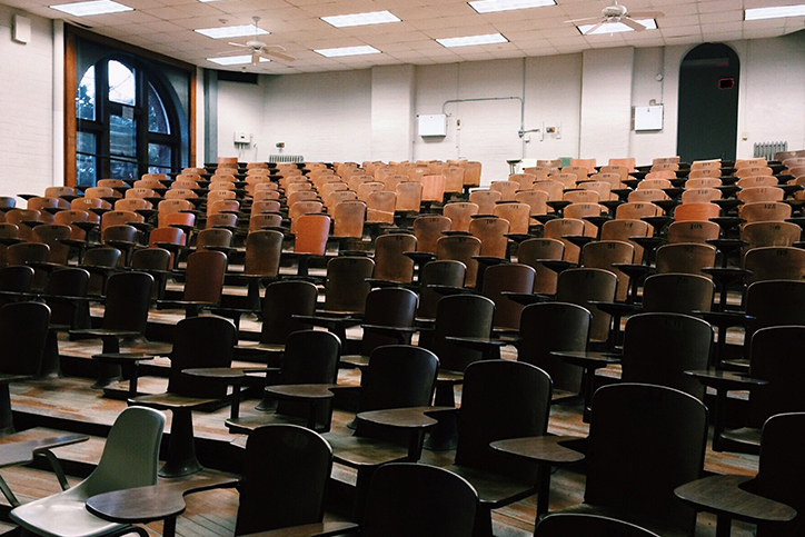An empty conference room or classroom