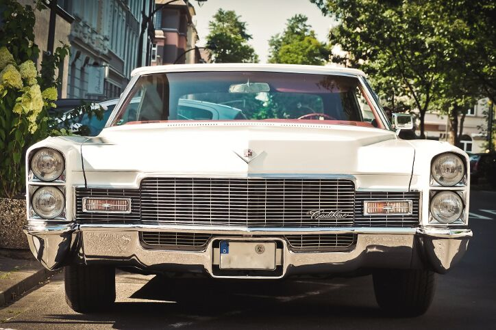 An old white Cadillac