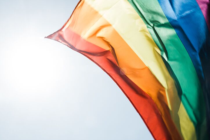 A rainbow flag for gay pride waving in the air