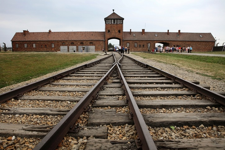 Train tracks leading to a concentration camp