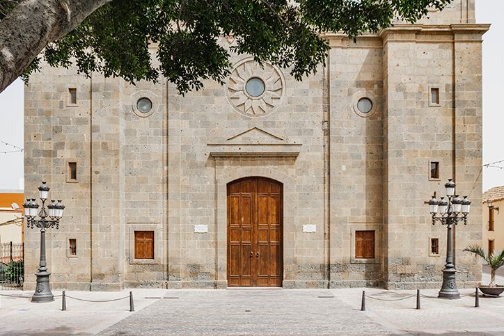 The wooden doors on the front of a church