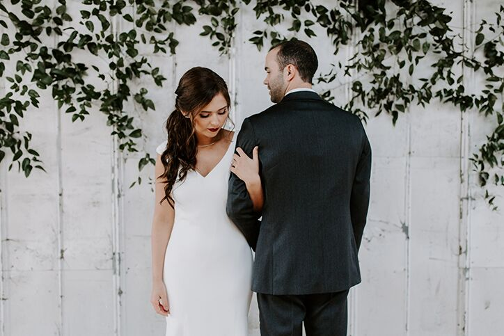 A man and woman in wedding attire