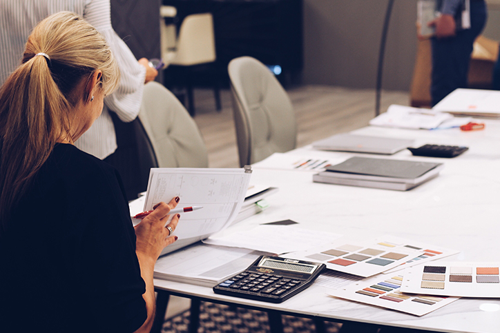 A businesswoman working on paperwork