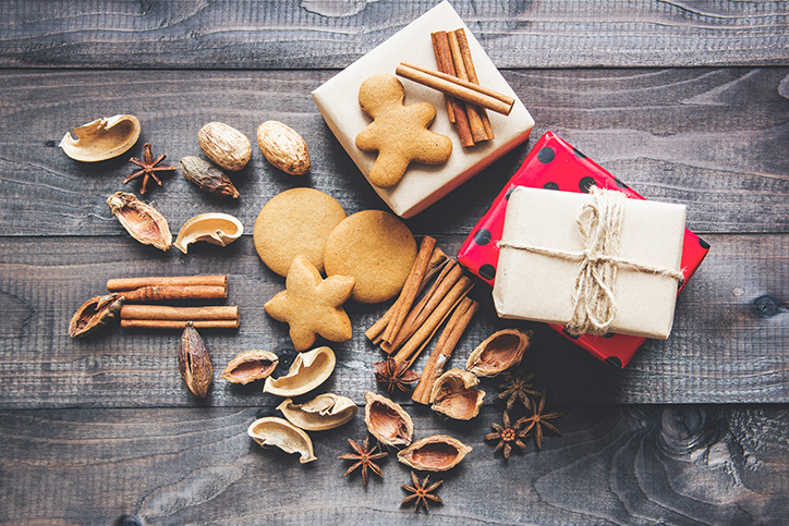 Gingerbread cookies, spices, and gift boxes