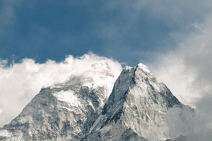 The peaks of a mountain