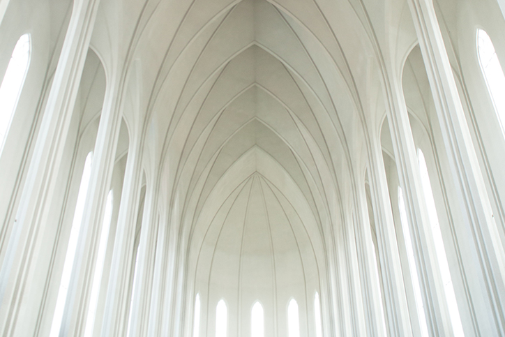 The white ceiling of a cathedral