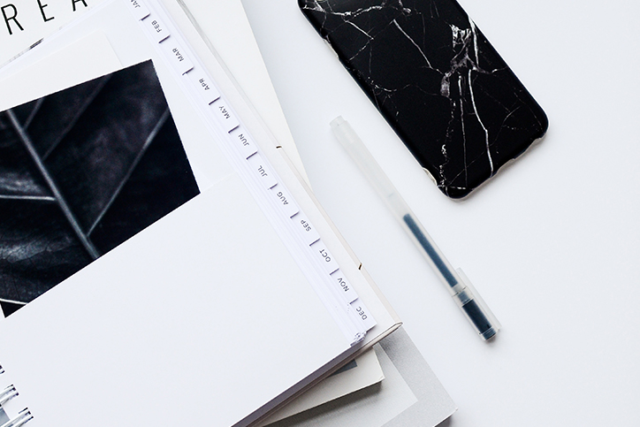 planner and phone