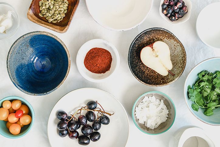 A table display of foods for healthy eating