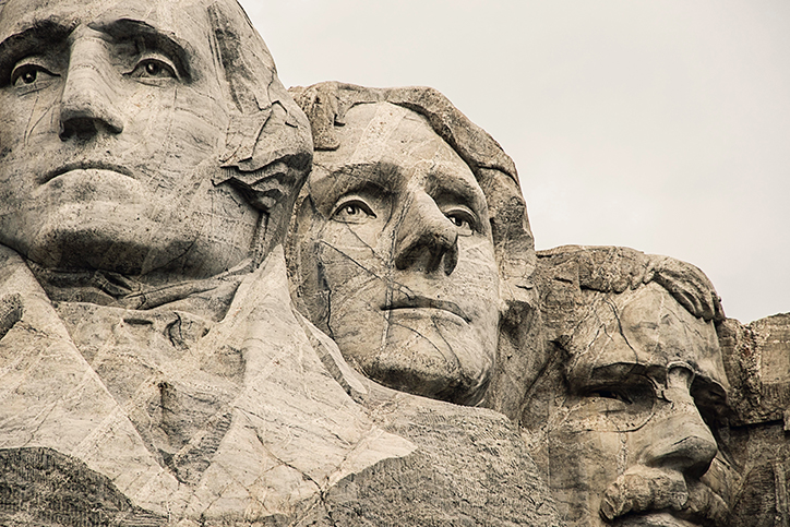 Presidents' faces on Mount Rushmore
