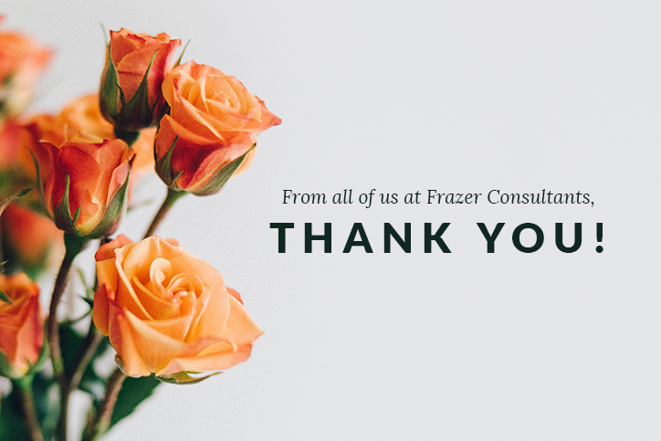 flowers with a thank-you note