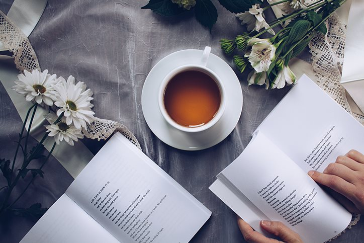 Coffee, flowers, and poems
