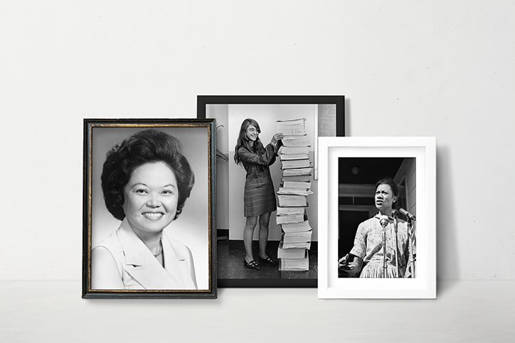 Framed pictures of Patsy Mink, Margaret Hamilton, and Gloria Richardson