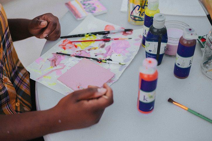 kid working on crafts