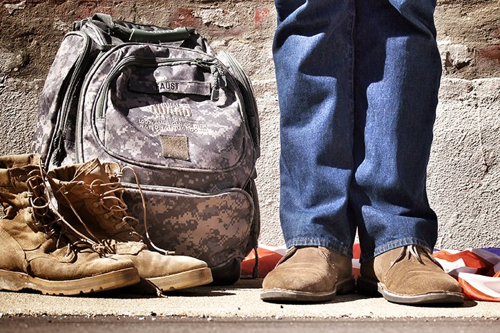 veteran with military gear