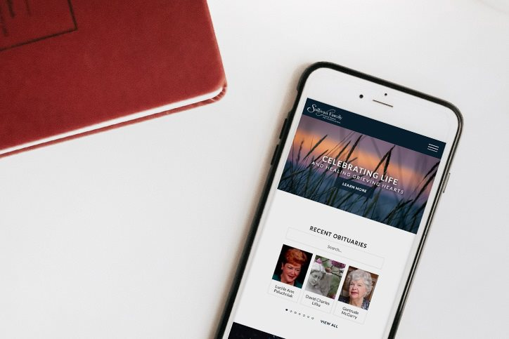Sullivan Family Funeral Home website on a smartphone