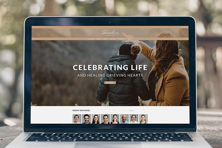 Laptop with Frazer-powered funeral home website