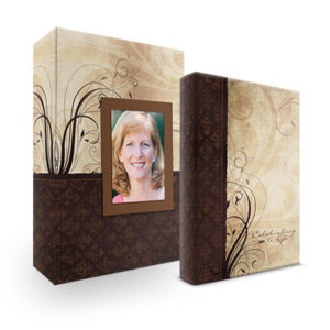 Bookshelf Keepsake Box Register Book - Swirls Brown