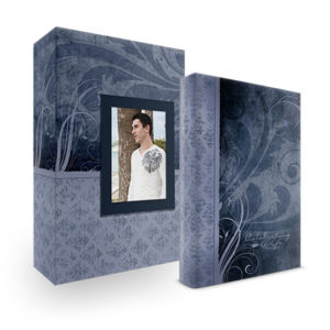 Bookshelf Keepsake Box Register Book - Swirls Navy