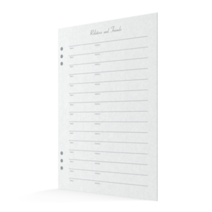 Life Journey Stationery - Register Book Relative and Friends Signature Pages