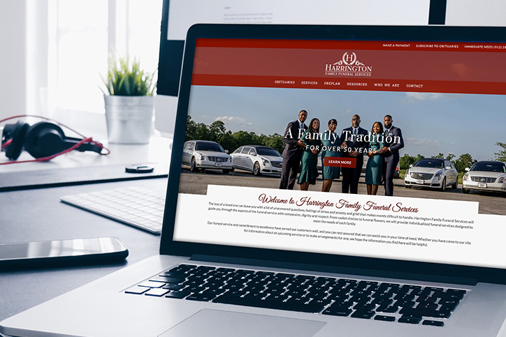 Harrington Family Funeral Services funeral home website on a laptop