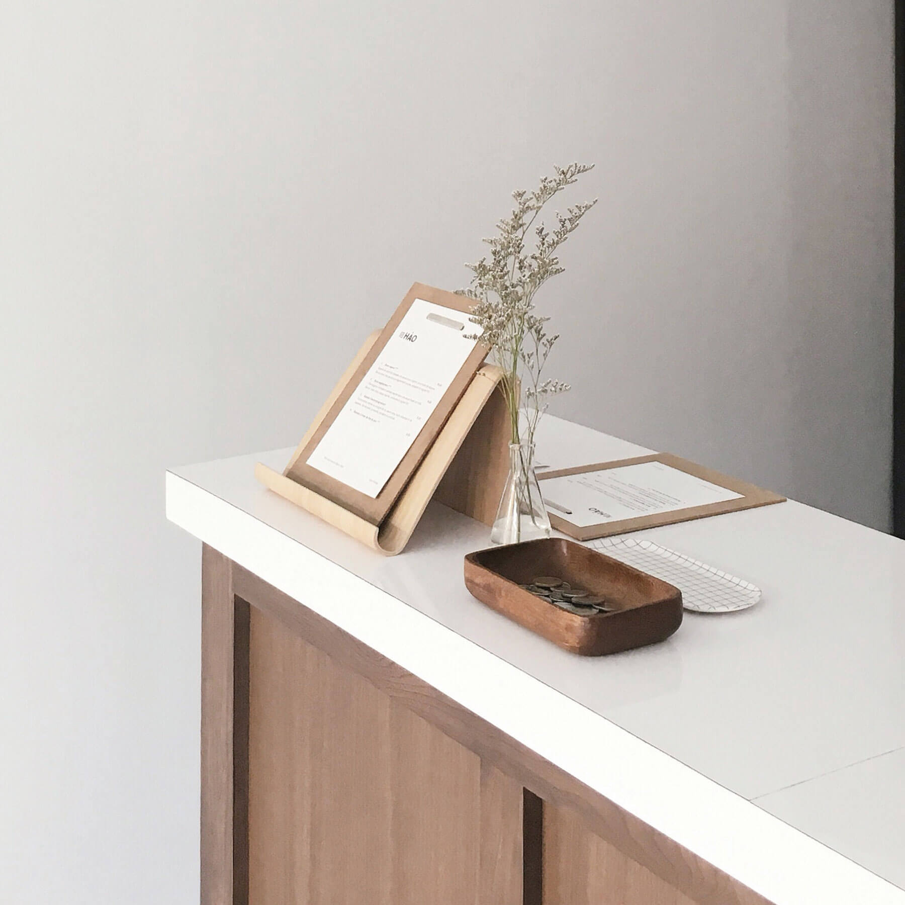 clipboards on a counter