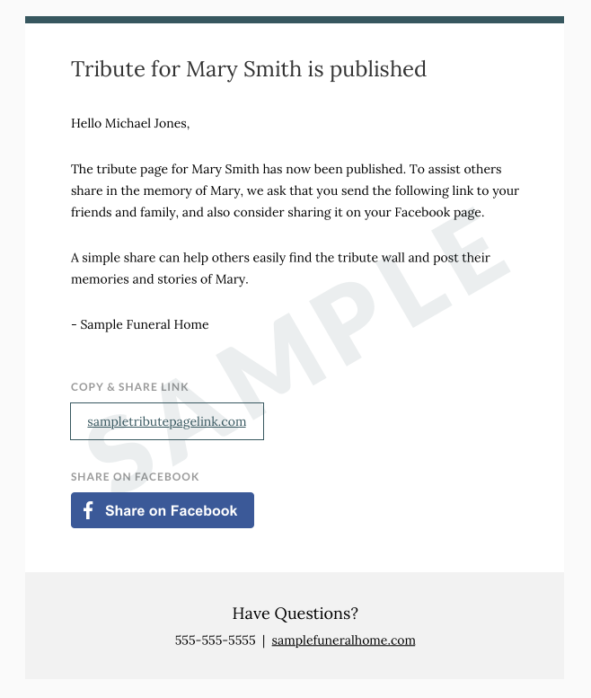 Obituary sharing screen for a Frazer-powered funeral home website